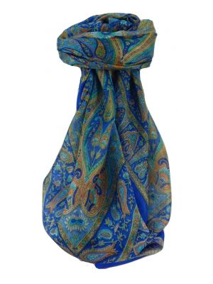 Mulberry Silk Traditional Square Scarf Keshar Navy by Pashmina & Silk