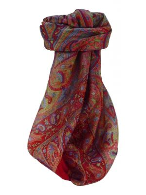Mulberry Silk Traditional Square Scarf Keshar Scarlet by Pashmina & Silk