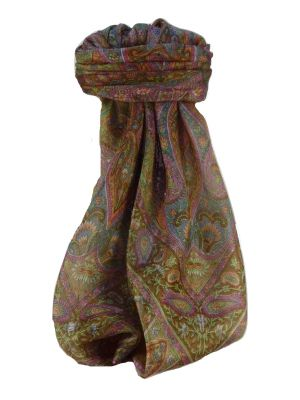 Mulberry Silk Traditional Square Scarf Keshar Chestnutby Pashmina & Silk