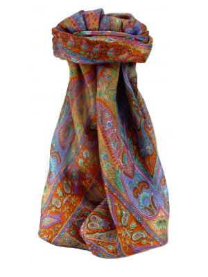 Mulberry Silk Traditional Square Scarf Keshar Tangerine by Pashmina & Silk