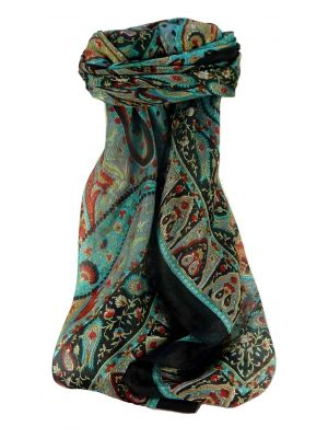 Mulberry Silk Traditional Square Scarf Keshar Black by Pashmina & Silk