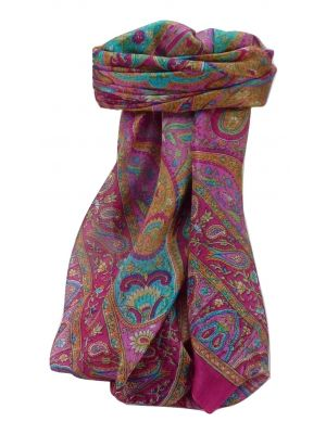 Mulberry Silk Traditional Square Scarf Keshar Pink by Pashmina & Silk