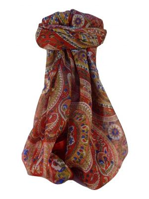Mulberry Silk Traditional Square Scarf Kuldeep Scarlet by Pashmina & Silk