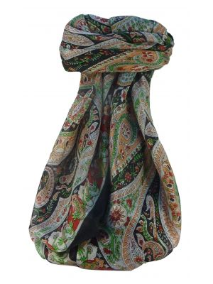 Mulberry Silk Traditional Square Scarf Kuldeep Black by Pashmina & Silk