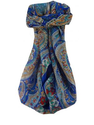 Mulberry Silk Traditional Square Scarf Kuldeep Blue by Pashmina & Silk