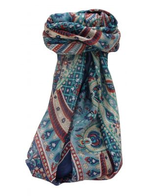 Mulberry Silk Traditional Square Scarf Rajpoor Navy by Pashmina & Silk