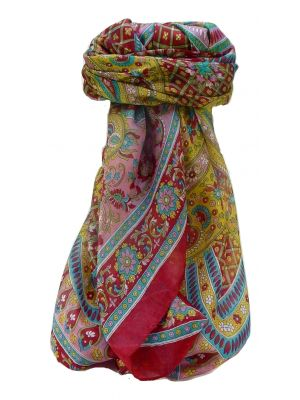 Mulberry Silk Traditional Square Scarf Rajpoor Wine by Pashmina & Silk