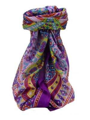 Mulberry Silk Traditional Square Scarf Rajpoor Violet by Pashmina & Silk