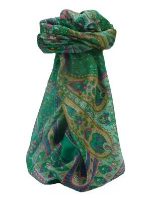 Mulberry Silk Traditional Square Scarf Rajpoor Emerald by Pashmina & Silk