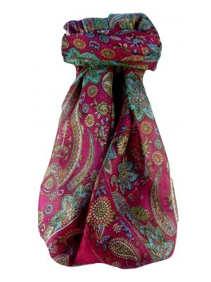 Mulberry Silk Traditional Square Scarf Ravi Pink by Pashmina & Silk