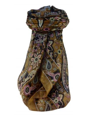 Mulberry Silk Traditional Square Scarf Ravi Chestnut by Pashmina & Silk