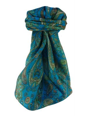Mulberry Silk Traditional Square Scarf Ravi Aqua by Pashmina & Silk