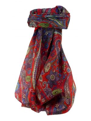 Mulberry Silk Traditional Square Scarf Ravi Scarlet by Pashmina & Silk