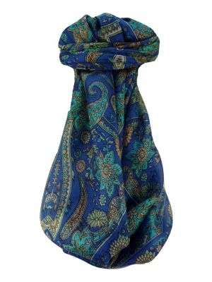 Mulberry Silk Traditional Square Scarf Ravi Blue by Pashmina & Silk
