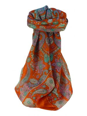 Mulberry Silk Traditional Square Scarf Ravi Tangerine by Pashmina & Silk