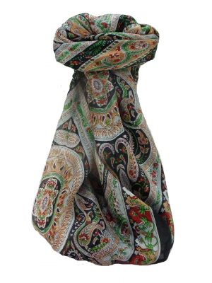 Mulberry Silk Traditional Square Scarf Ridan Black by Pashmina & Silk