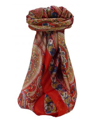 Mulberry Silk Traditional Square Scarf Ridan Scarlet by Pashmina & Silk