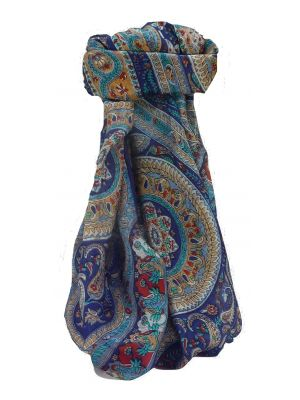 Mulberry Silk Traditional Square Scarf Ridan Blue by Pashmina & Silk
