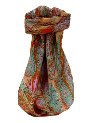 Mulberry Silk Traditional Square Scarf Sariz Tangerine by Pashmina & Silk