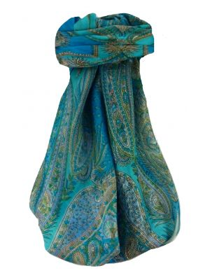 Mulberry Silk Traditional Square Scarf Sariz Aqua by Pashmina & Silk
