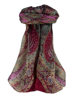 Mulberry Silk Traditional Square Scarf Sariz Wine by Pashmina & Silk