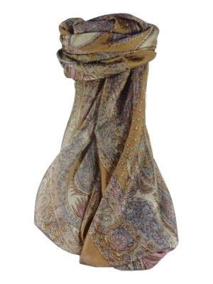 Mulberry Silk Traditional Square Scarf Sariz Caramel by Pashmina & Silk