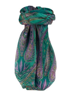 Mulberry Silk Traditional Square Scarf Sariz Teal by Pashmina & Silk