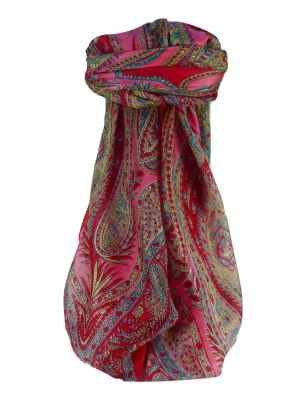 Mulberry Silk Traditional Square Scarf Sariz Pink by Pashmina & Silk