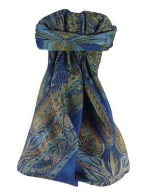 Mulberry Silk Traditional Square Scarf Sariz Blue by Pashmina & Silk