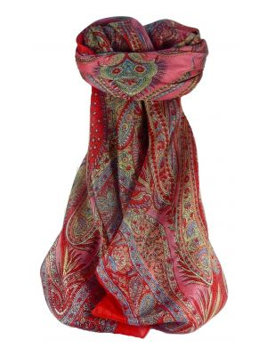 Mulberry Silk Traditional Square Scarf Sariz Scarlet by Pashmina & Silk