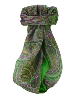 Mulberry Silk Traditional Square Scarf Shakir Jade by Pashmina & Silk