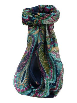 Mulberry Silk Traditional Square Scarf Shakir Navy by Pashmina & Silk