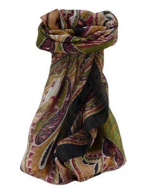 Mulberry Silk Traditional Square Scarf Shakir Black by Pashmina & Silk