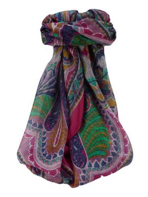 Mulberry Silk Traditional Square Scarf Shakir Pink by Pashmina & Silk