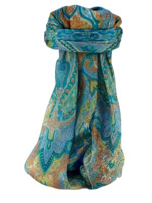 Mulberry Silk Traditional Square Scarf Shruti Aqua by Pashmina & Silk