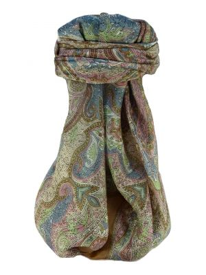 Mulberry Silk Traditional Square Scarf Shruti Chestnut by Pashmina & Silk