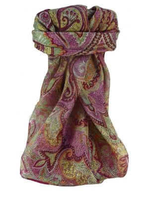 Mulberry Silk Traditional Square Scarf Shruti Wine by Pashmina & Silk