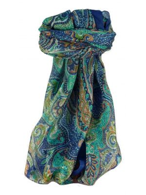 Mulberry Silk Traditional Square Scarf Shruti Blue by Pashmina & Silk