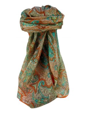 Mulberry Silk Traditional Square Scarf Shruti Tangerine by Pashmina & Silk