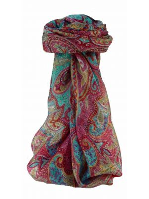 Mulberry Silk Traditional Square Scarf Shruti Pink by Pashmina & Silk