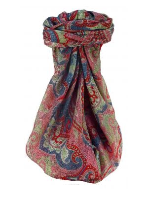 Mulberry Silk Traditional Square Scarf Shruti Scarlet by Pashmina & Silk