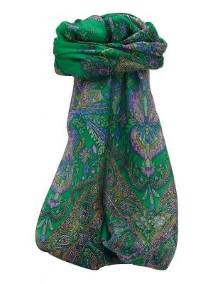 Mulberry Silk Traditional Square Scarf Sunil Emerald by Pashmina & Silk