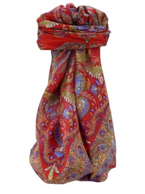 Mulberry Silk Traditional Square Scarf Sunil Scarlet by Pashmina & Silk