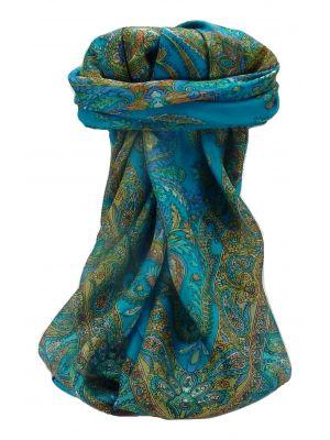 Mulberry Silk Traditional Square Scarf Sunil Aqua by Pashmina & Silk