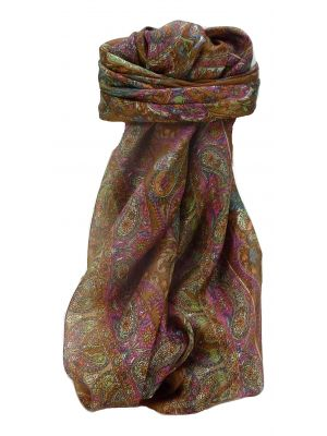 Mulberry Silk Traditional Square Scarf Sunil Chestnut by Pashmina & Silk