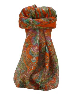 Mulberry Silk Traditional Square Scarf Sunil Tangerine by Pashmina & Silk