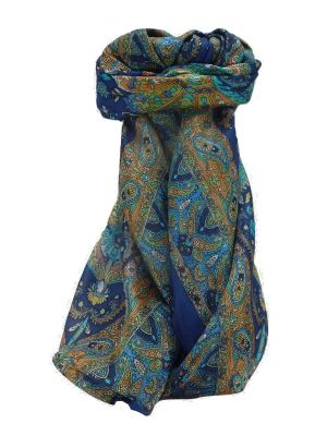 Mulberry Silk Traditional Square Scarf Sunil Blue by Pashmina & Silk