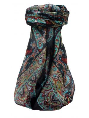 Mulberry Silk Traditional Square Scarf Sunil Black by Pashmina & Silk