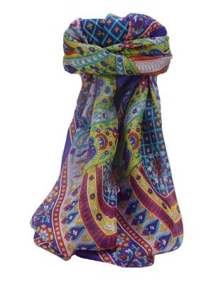 Mulberry Silk Traditional Square Scarf Vikash Violet by Pashmina & Silk