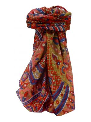 Mulberry Silk Traditional Square Scarf Vikash Scarlet by Pashmina & Silk